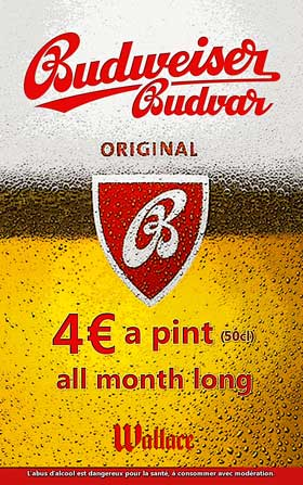 budvar beer Lyon Wallace Bar
